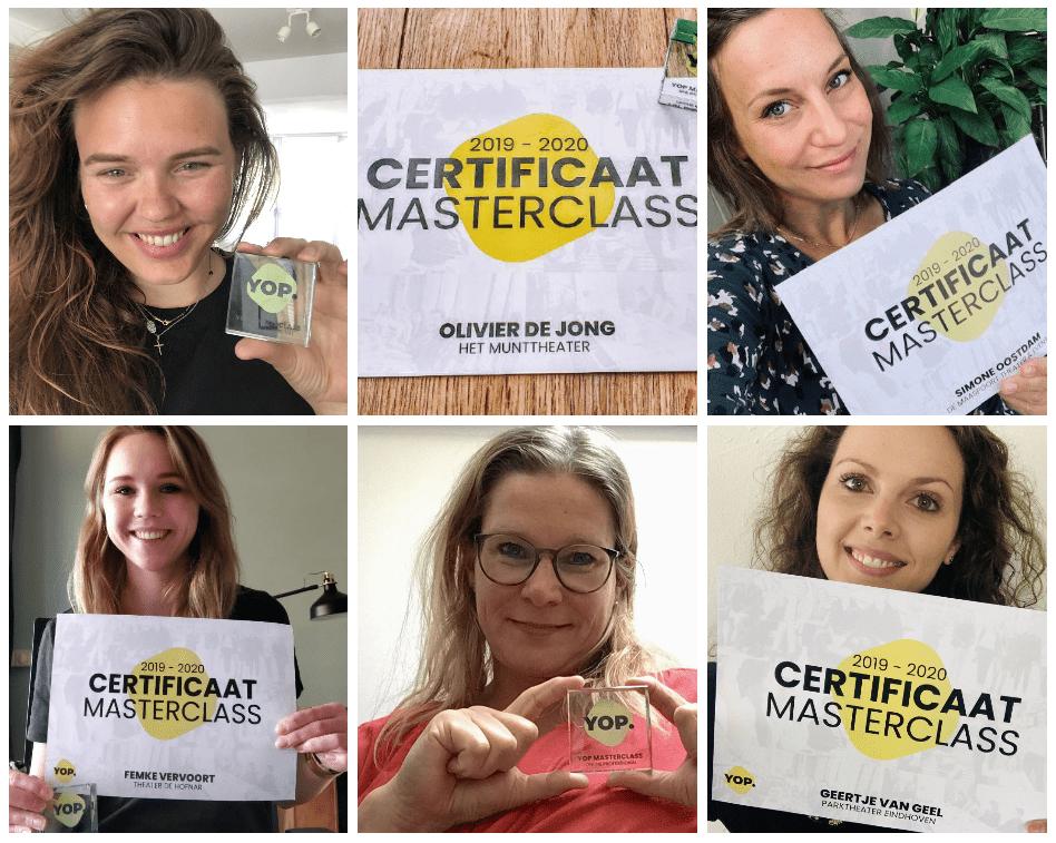 YOP groep ontvangt certificaat voor succesvol afronden masterclasses